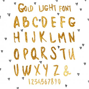 Golden watercolor alphabet.