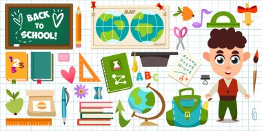 Set of school objects and Schoolboy