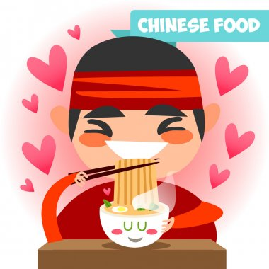 Funny Chinese chef in kimono.