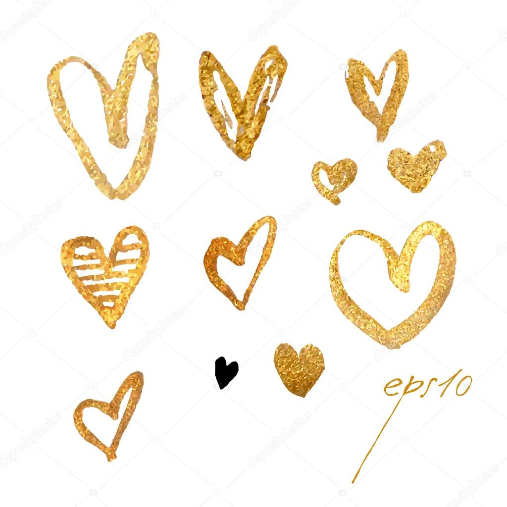Drawing freehand brush style hearts. Elements for Valentine's Day. Vector metallic glamour gold hearts. stock vector