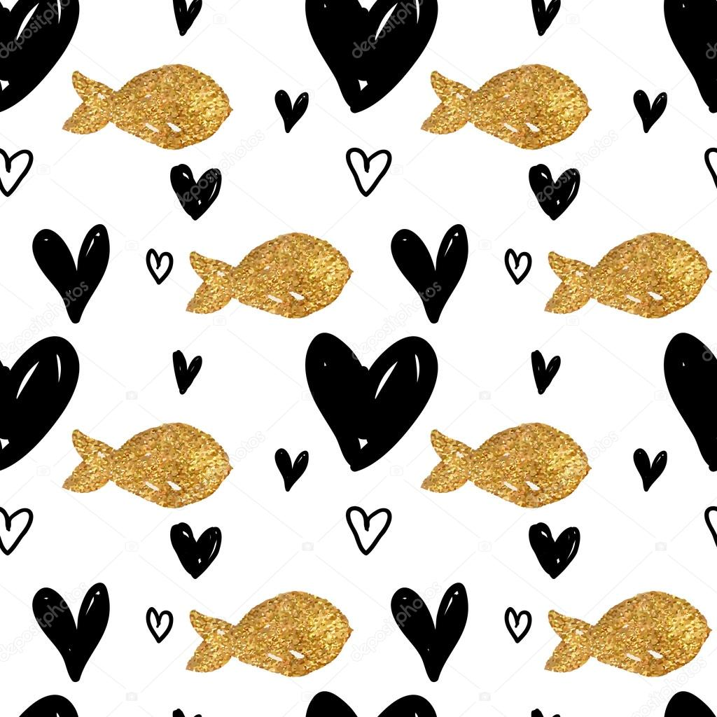 Abstract background with hearts and fish