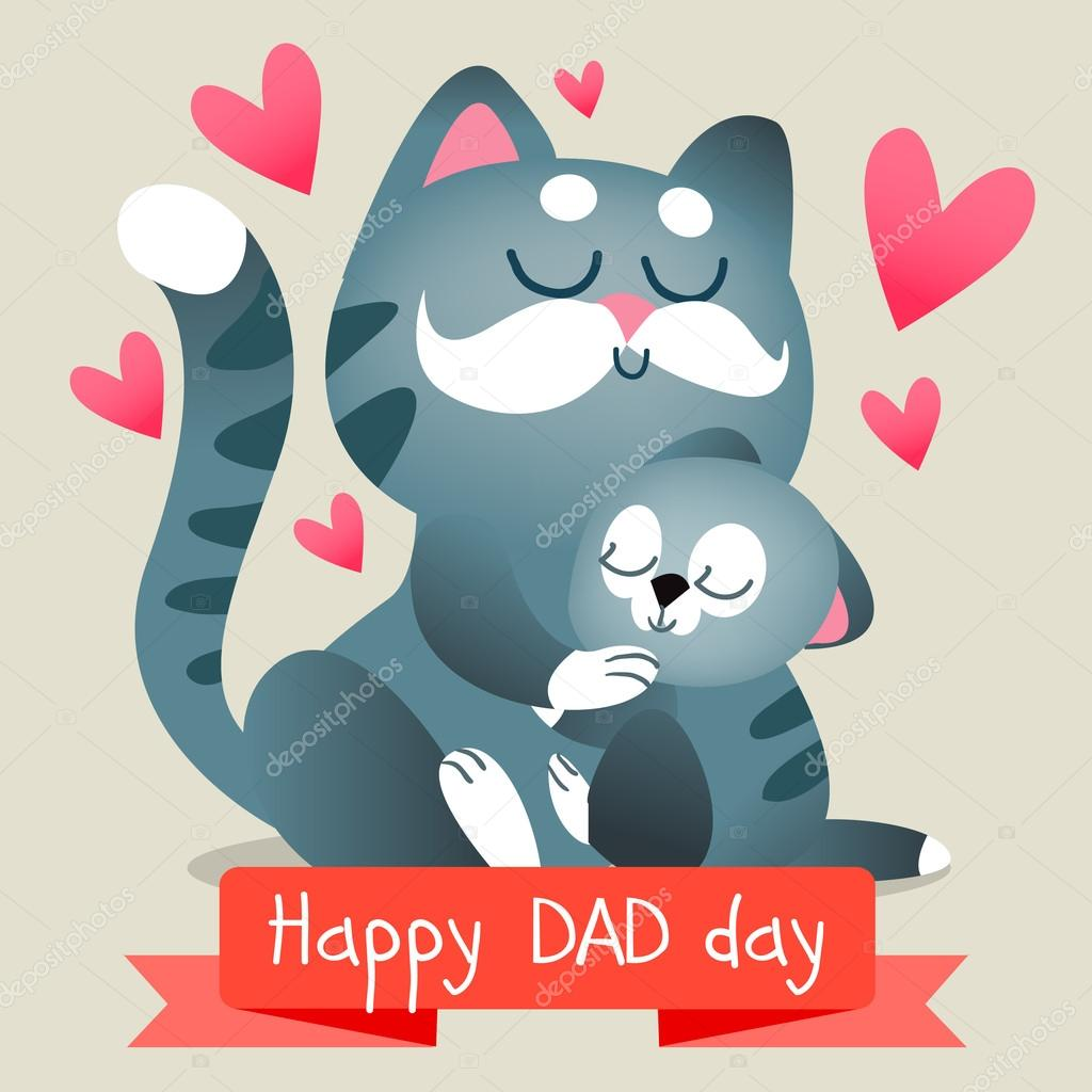 Happy fathers day card stock vector katyabra 76776081 happy fathers day with cats baby and dad together illustration cute animals vector by katyabra sciox Gallery