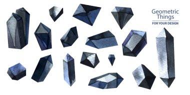 watercolor black crystals