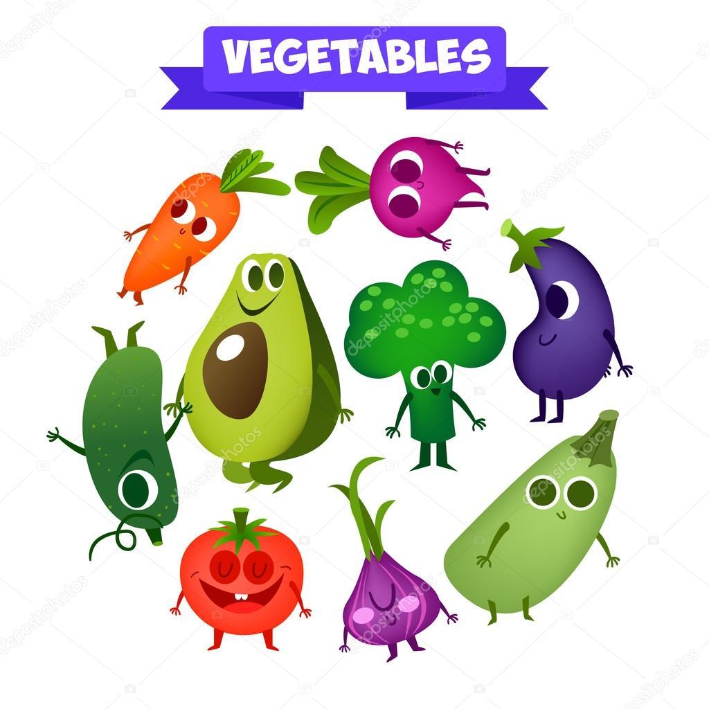 かわいい果物と野菜のセット — ストックベクター © katya_bra #79252272