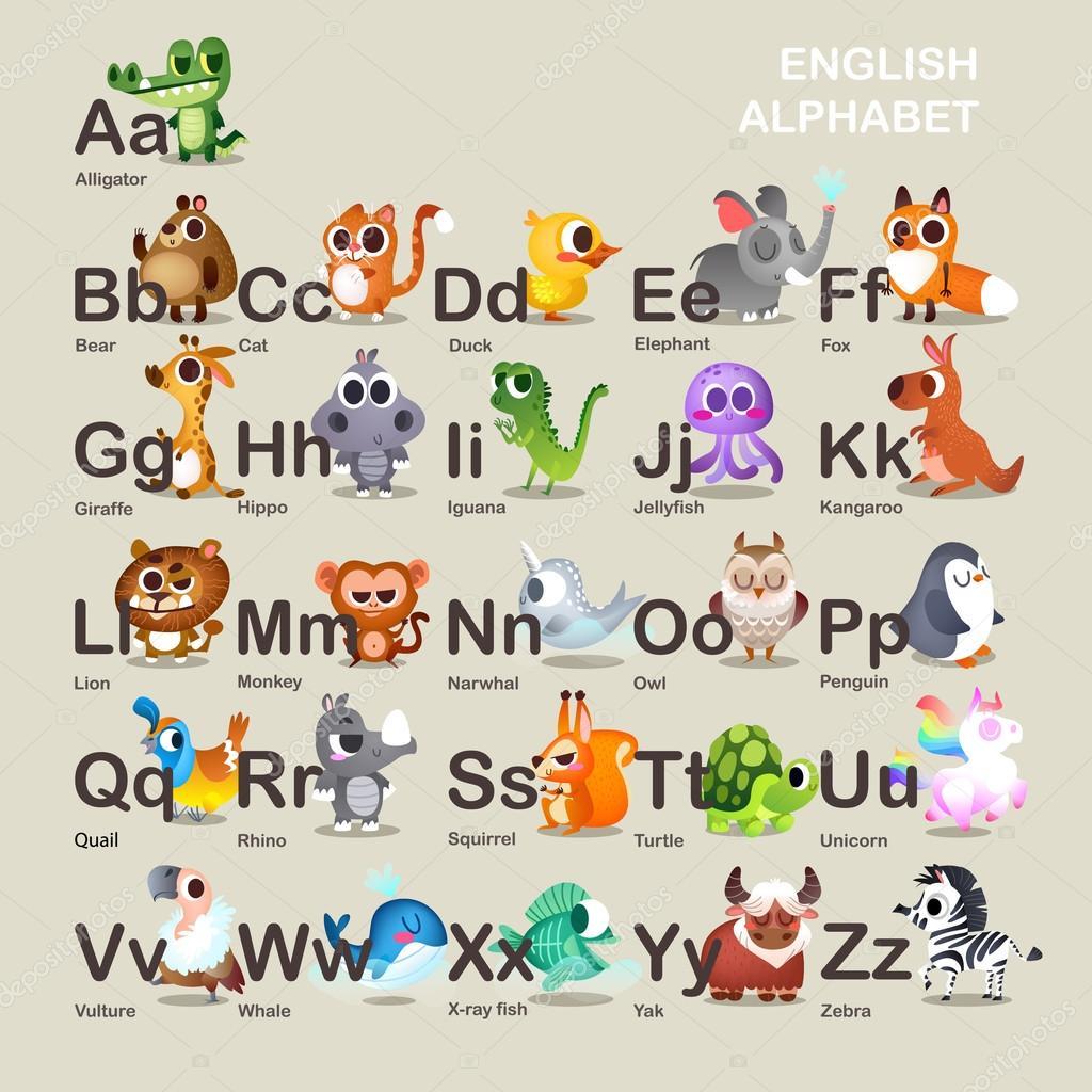Cute alphabet with animals