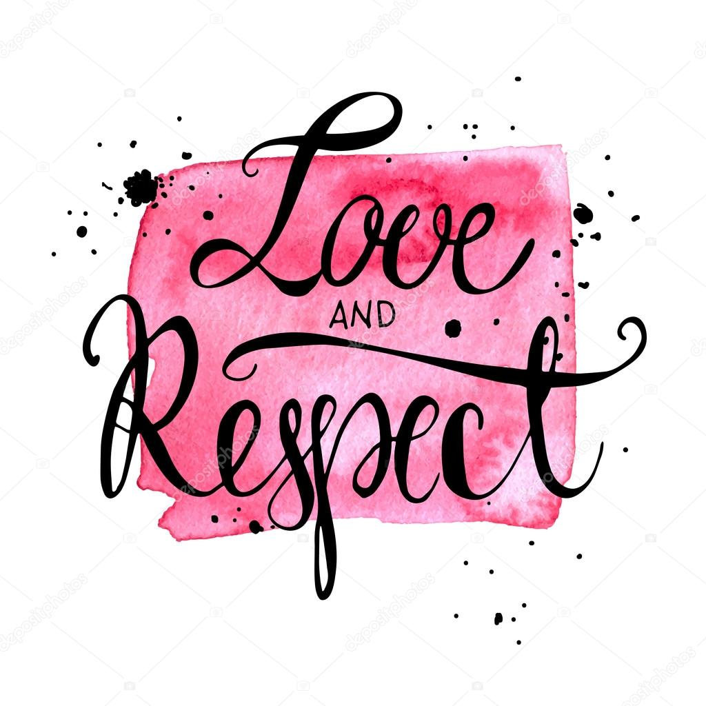 Conceptual handwritten phrase love and respect. Inspiration hand drawn quote. Handdrawn lettering design. clipart vector