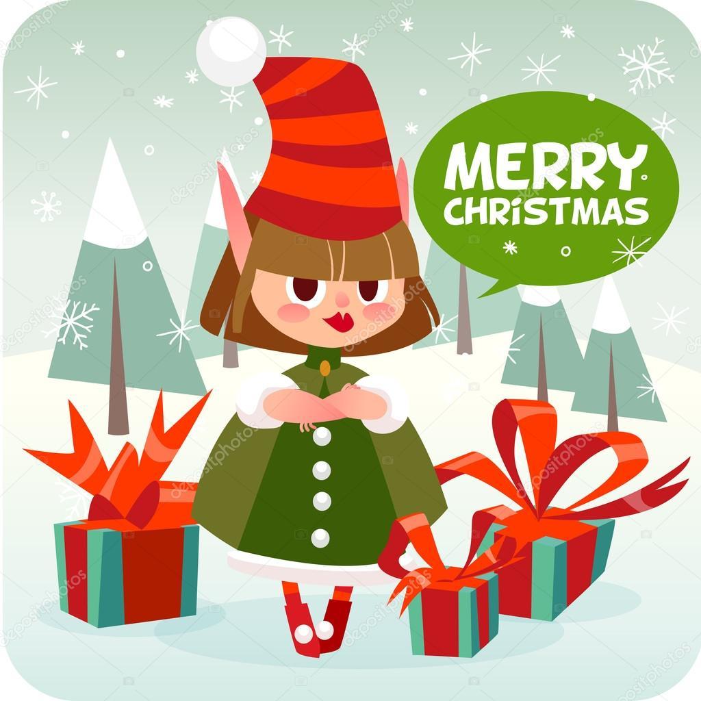 Buon Natale 118.Personaggio Dei Cartoni Animati Natale Elfo Vettoriali Stock