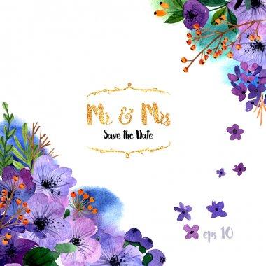 """Картина, постер, плакат, фотообои """"коллекция раскрашенных цветов сирень природа лилии"""", артикул 90991828"""