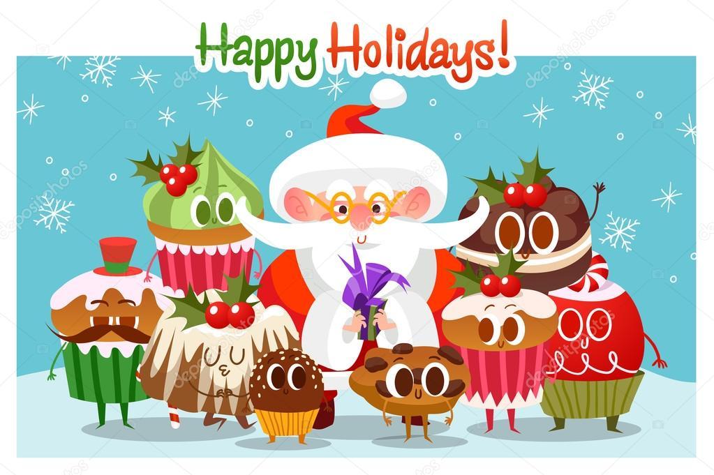 big set of cute christmas cookies merry christmas illustration cartoon christmas character happy holidays happy new year vector by katya_bra