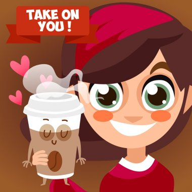 Cup of coffee take on you. Cappuccino, cocoa. Hot drink. Everyone needs coffee. Vector illustration of comic characters coffee and cocoa beans. stock vector