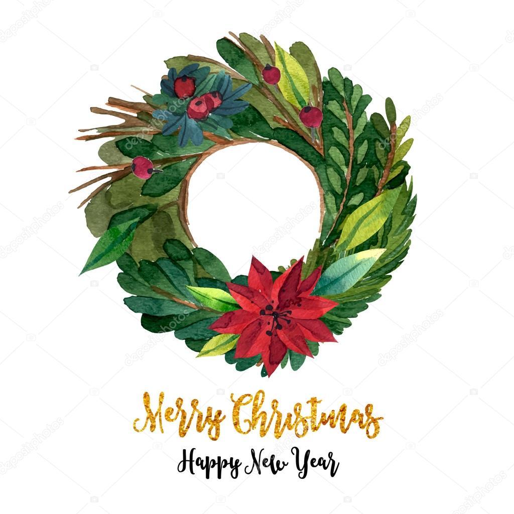 Watercolor Christmas Wreath Stock Vector C Katya Bra 95371692