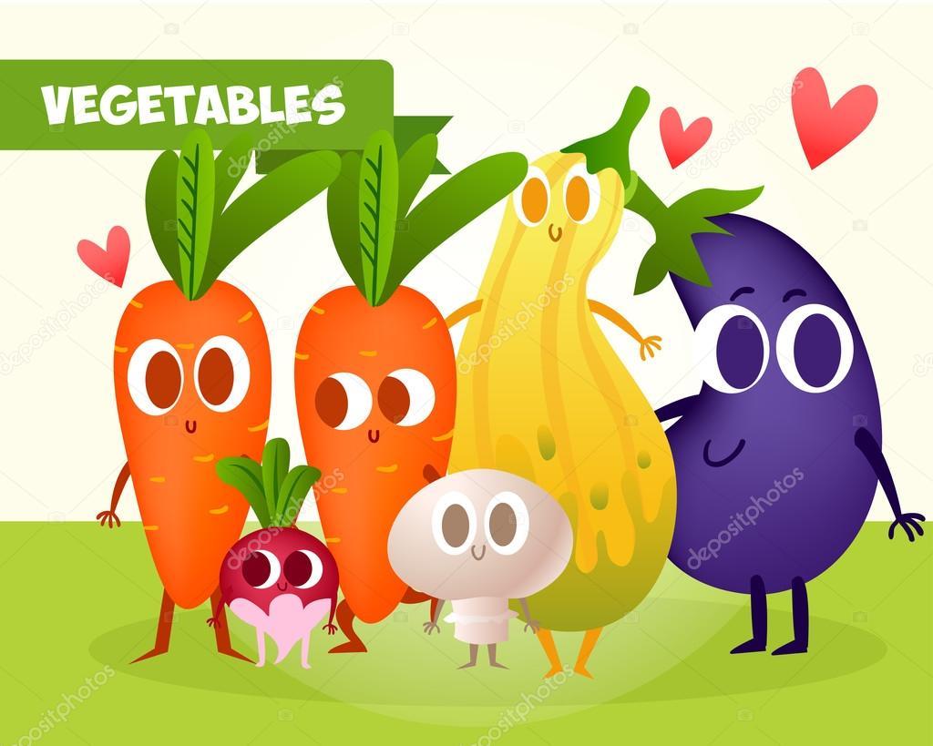 かわいい野菜のセット — ストックベクター © katya_bra #95373084