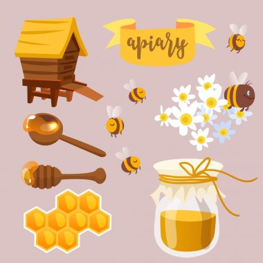 Apiary beekeeper icons