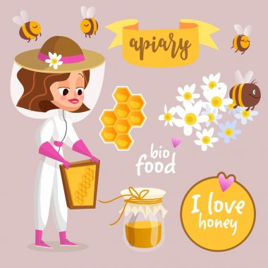 Beekeeper cartoon concept.