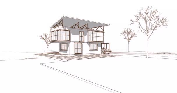 ház építészeti vázlat 3d illusztráció