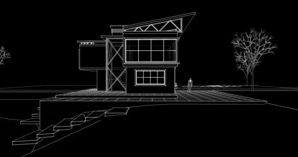 moderní architektura dům s konzolemi 3D ilustrace