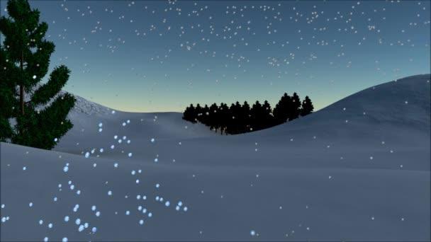Vánoční animace - text v částice, animovaný sněhulák a padající hvězda