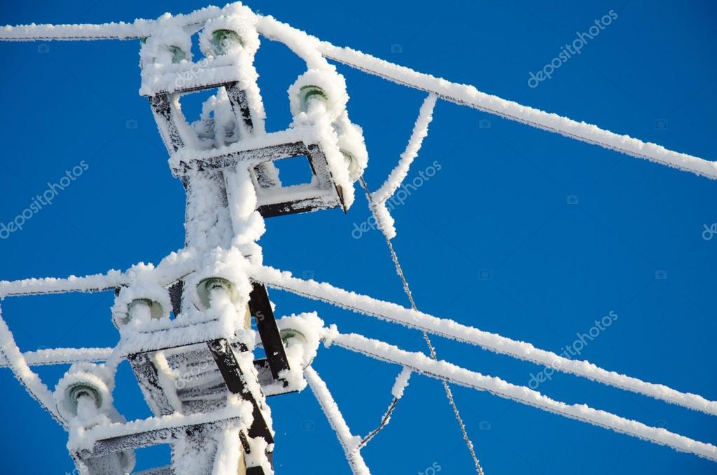 Power line in hoarfrost