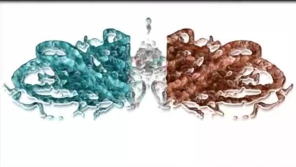Digitális Renderelés Szimmetrikus narancs és kék háttér