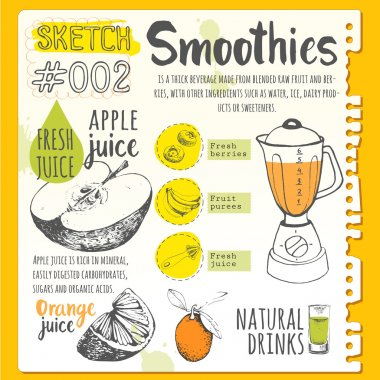 Useful drinks in sketch style.