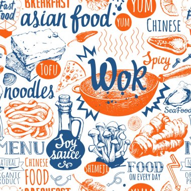 Seamless background with wok food symbols. Menu pattern.