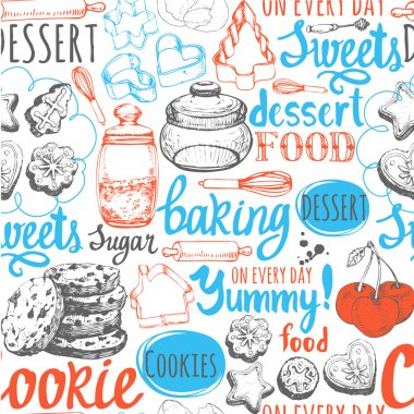 Seamless background with sweet pastries symbols.