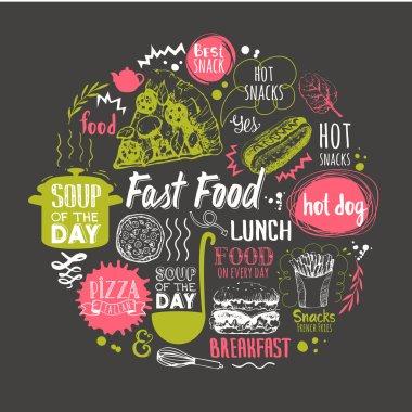 Sketch funny food lettering and labels on black background.