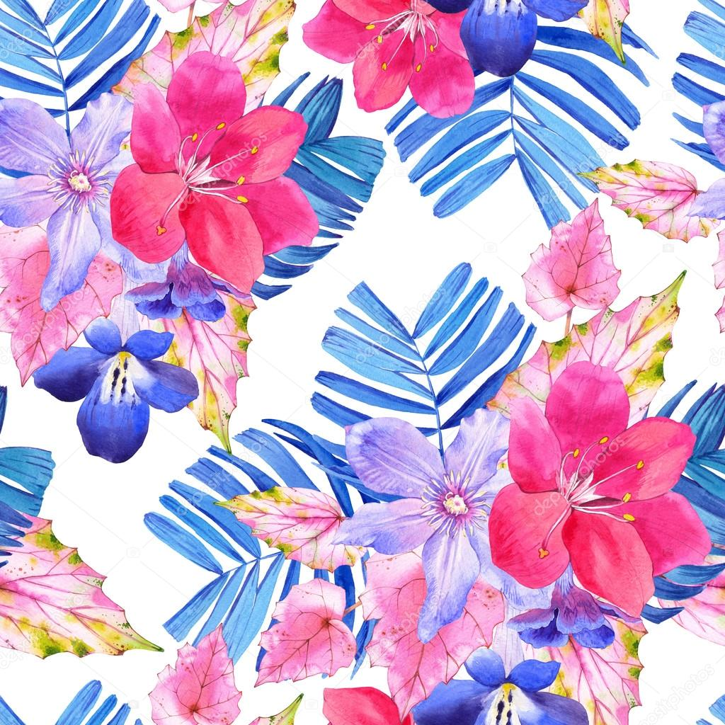 Seamless Pattern With Pink And Blue Realistic Watercolor Flowers