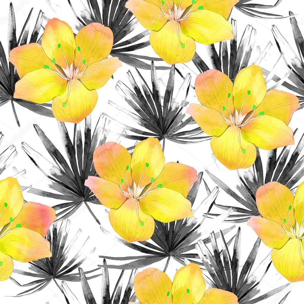 Seamless background with watercolor tropical leave and flowers.