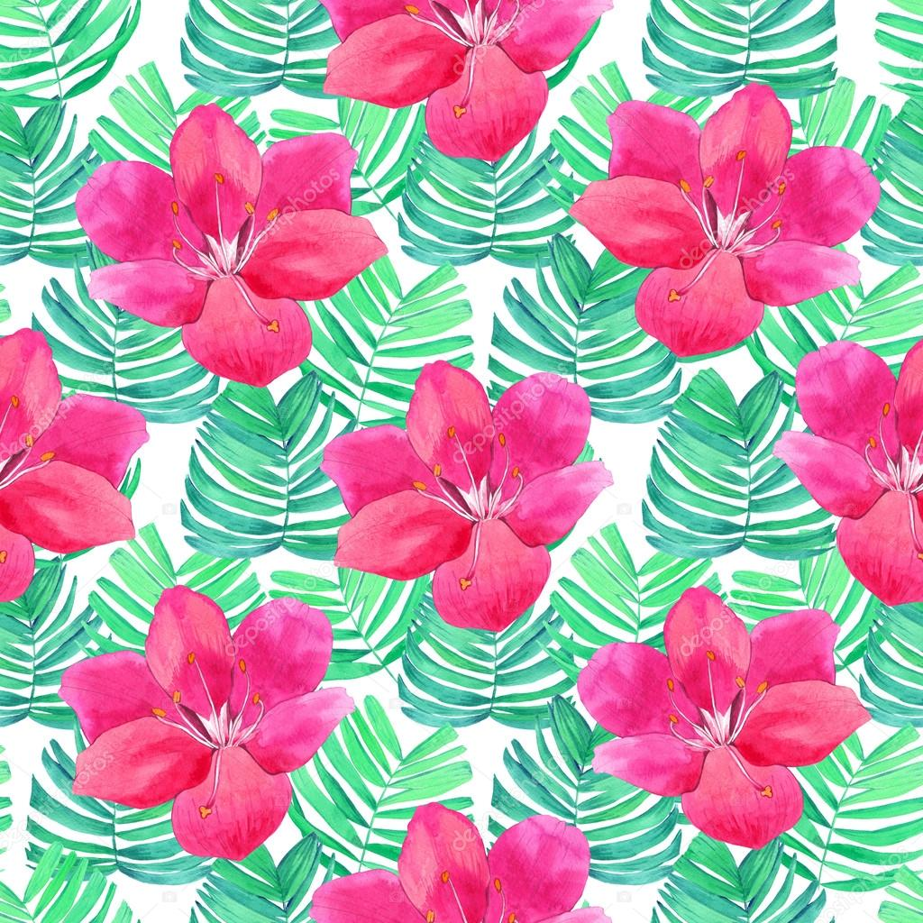 Seamless Background With Watercolor Tropical Leave And Flowers