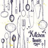 Bezešvé pozadí s jídelní nádobí. Vzor nabídky.