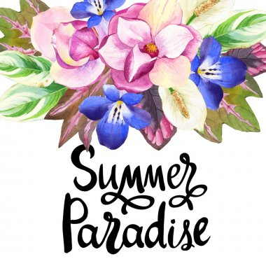 Illustrations with realistic watercolor flowers. Summer paradise.