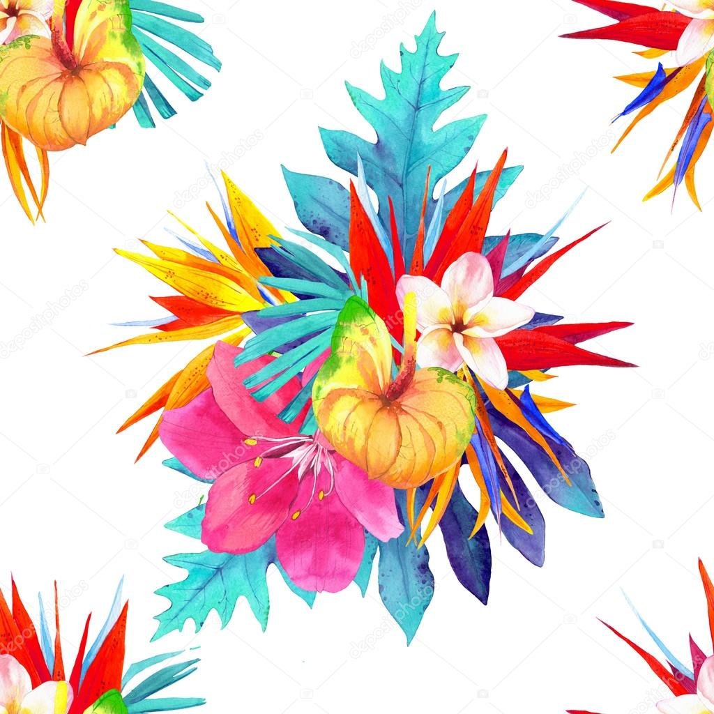 Seamless background with realistic watercolor flowers.