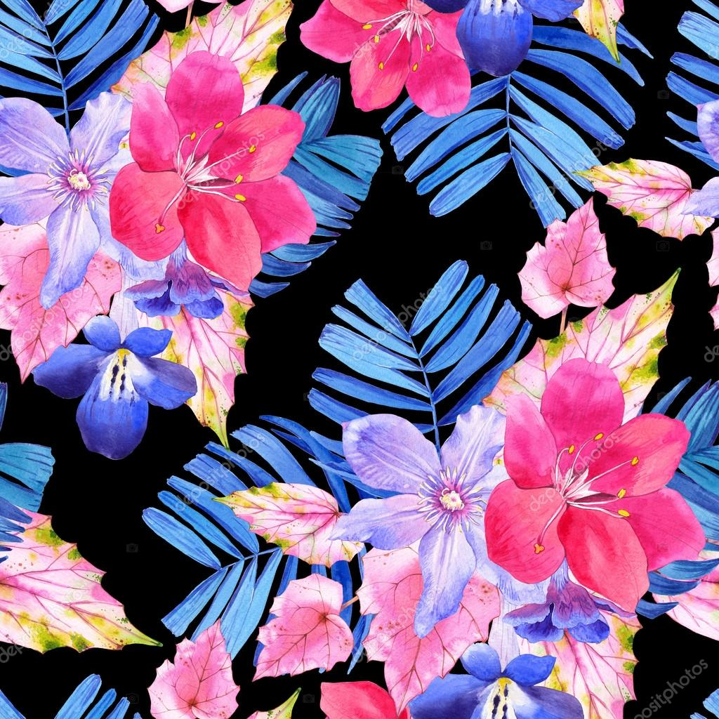 Seamless pattern with pink and blue realistic watercolor flowers beautiful watercolor illustration with tropical flowers and plants on white background composition with palm and begonia leaves lily clematis izmirmasajfo