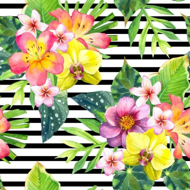 Seamless background with tropical flowers.