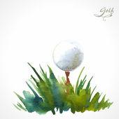 Plakát akvarel golf