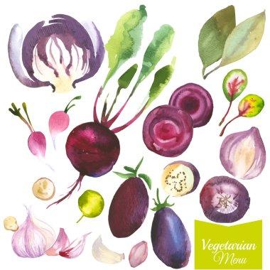 watercolor food set