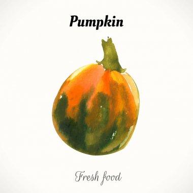 watercolor fresh food.