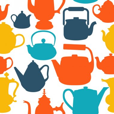 Seamless background of teapots