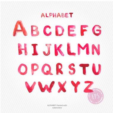Latin alphabet written by watercolo