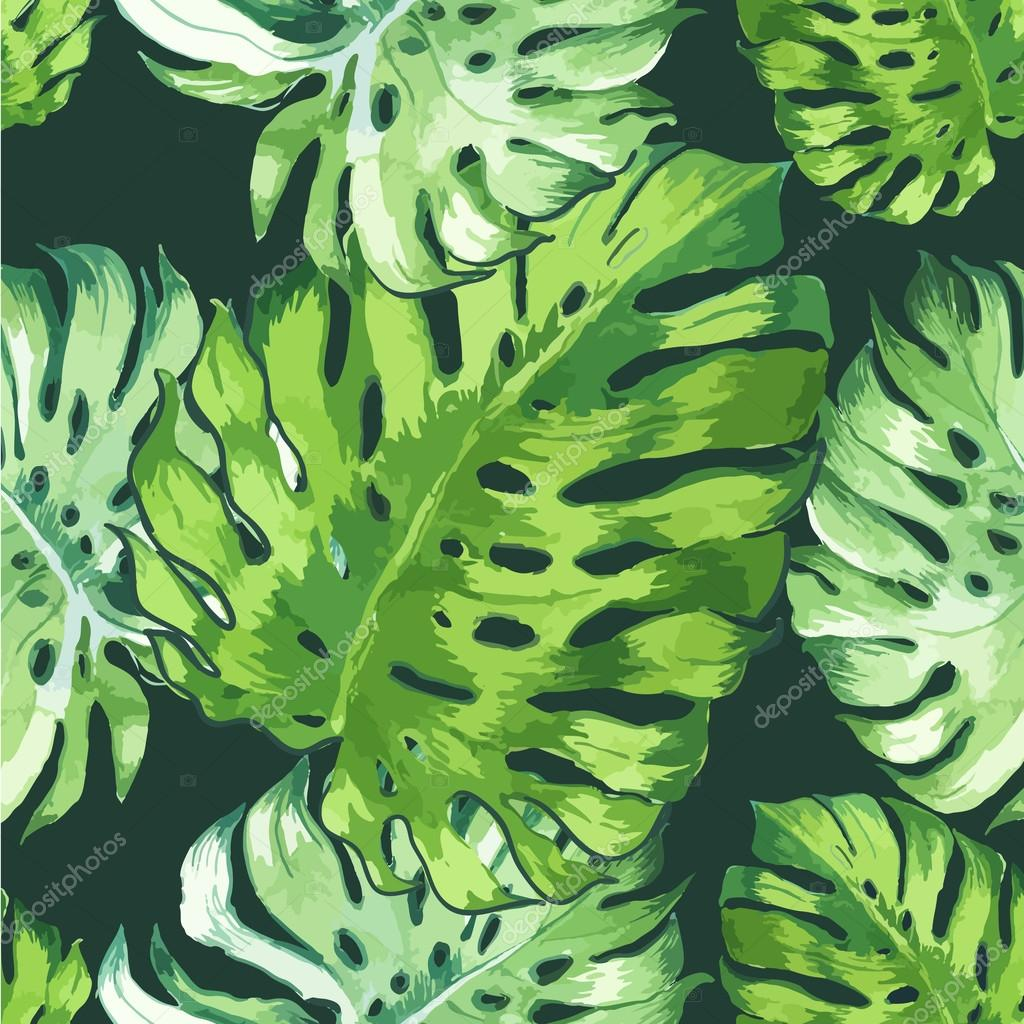 Vector illustration with tropical leaves.
