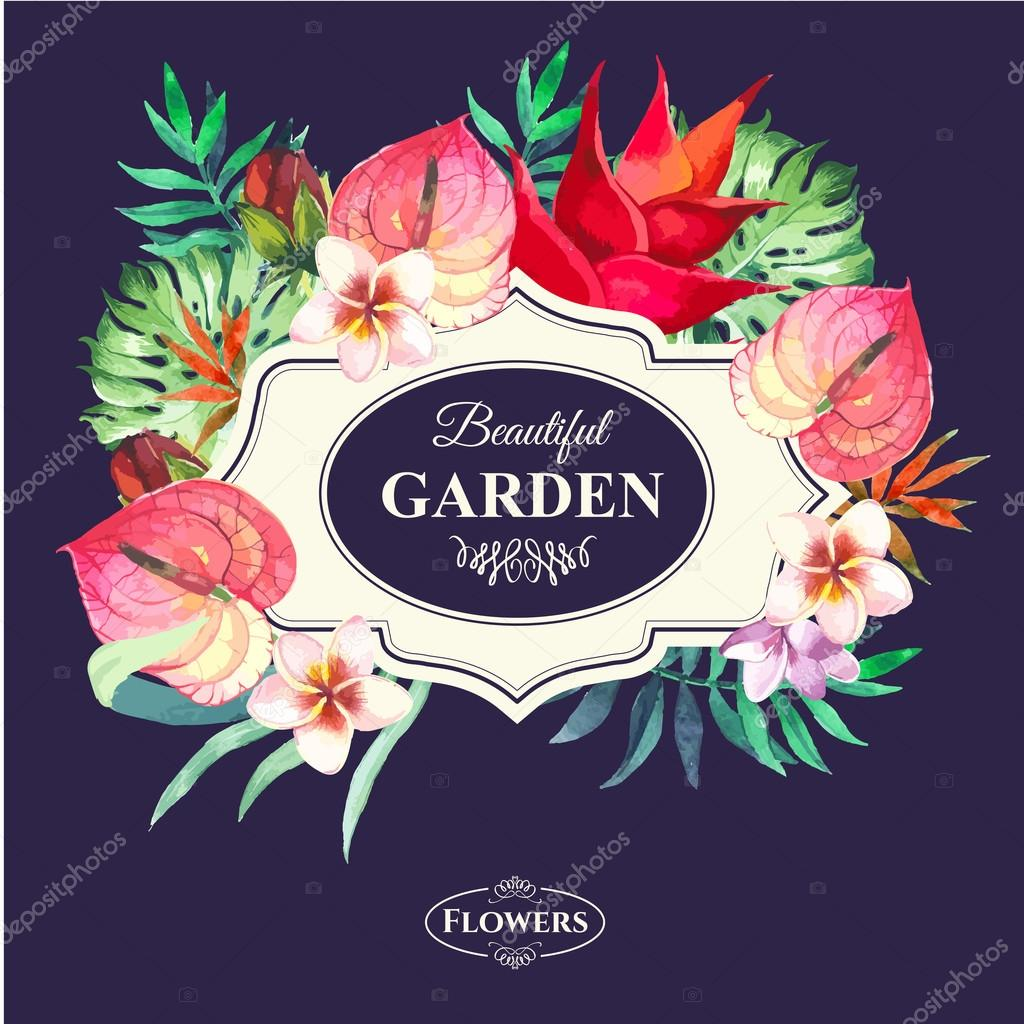 Vector illustration with watercolor flowers.