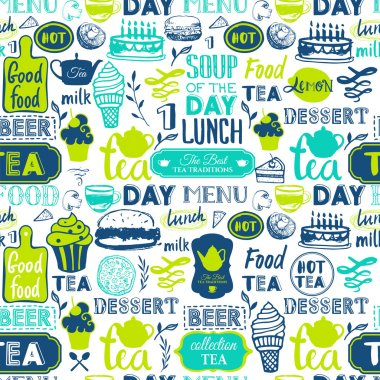 Seamless background with drink and food symbols.