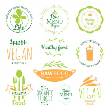 Logos with vegetarian and useful meal.
