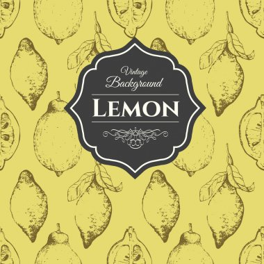 Hand-drawn sketch of lemons. Citrous pattern.