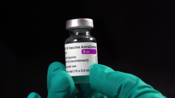 Europe, Italy Milan - April 2021 Vaccination against Covid-19 Coronavirus - AstraZeneca vaccine no for over 60 years old people -   black background