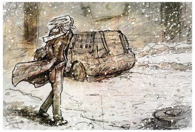 Sad guy goes along the road