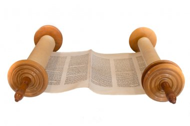 The Hebrew handwritten Torah scroll. Front view, isolated on white