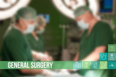 General surgery medical concept image with icons and doctors on background