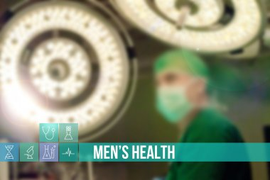 Men's health medical concept image with icons and doctors on background